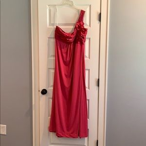 David's Bridal Pink One Shoulder Bridesmaid Dress